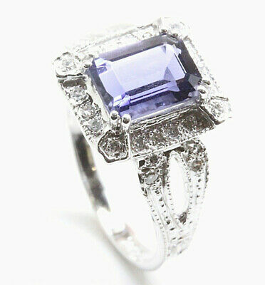 1.65 ctw Natural Blue Iolite & Diamond Solid 14k White Gold Halo Cocktail Ring