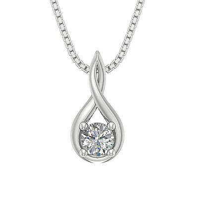 SI1 G 0.50Ct Genuine Diamond Solitaire Pendant Necklace 14K Solid Gold Prong Set
