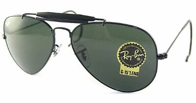 Ray Ban RB 3030 L9500 58mm Black G15 Outdoorsman Cable Temples New Authentic