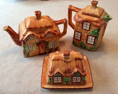 Westminster Henley Staffordshire Cottage Ware Teapot, Coffee Pot and Butter Dish
