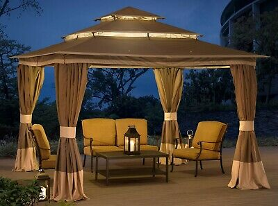 STEEL GAZEBO LARGE Tiered Vented Roof 12x12 Big Outdoor Garden Curtains  Canopy