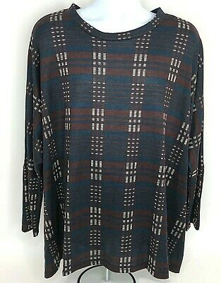 MOA USA Womens 3XL Dolman Sleeve Tunic Shirt Dress Button Accent Plaid Red NEW