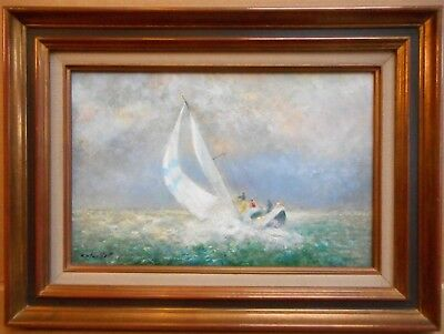 Yacht in full Sail. Original Oil by French artist Jacques Monteillet, circa 2000