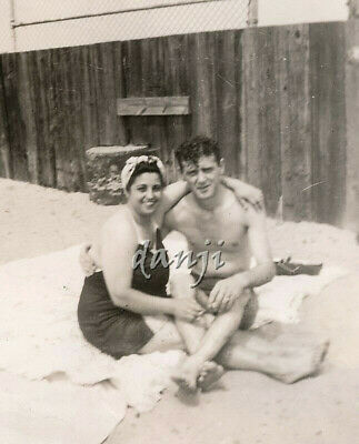 swimsuit couple with intertwined LEGS with FEET in camera* old Photo