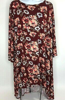 MOA USA Womens XL Tunic Shirt Dress High Low Long Sleeve Floral Red NWT