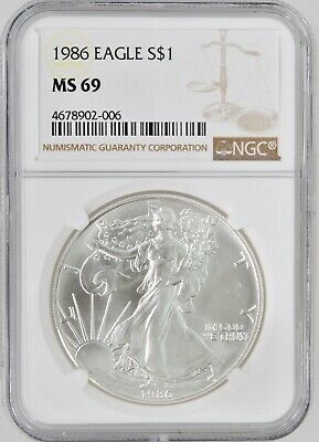 1986 $1 American Silver Eagle Dollar NGC MS69 First Year Issue