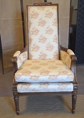 Hibriten French 1929 Antique Arm accent chair fluted carved ornate legs Fabric