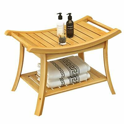 Shower Bench Stool for Seat - with Water Resistant 2-Tier Bamboo Storage Shelf P