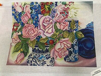 hand painted needlepoint   Jan Ford     Roses are Red