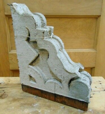 Antique Wooden Corbel Victorian White Distressed Paint-#4