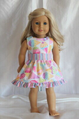 Dress fits 18inch American Girl Doll Clothes Ice Cream Cone Print