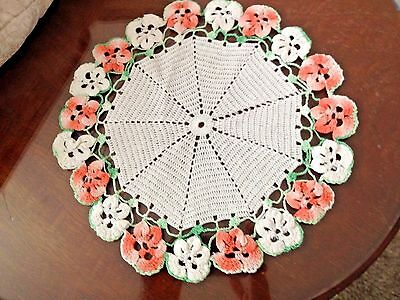 Vintage Hand CROCHETED DOILY ~ PASTEL PANSIES PEACH and GREEN
