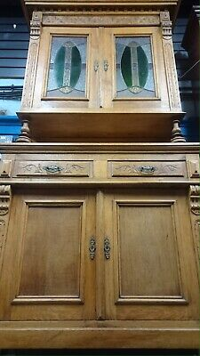 Antique Carved Oak Bookcase With Leaded Glass Doors GOT TO GO THIS WEEK