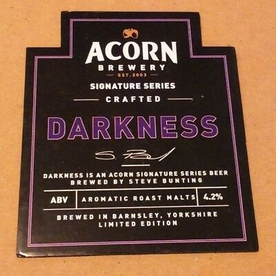 ACORN brewery DARKNESS cask ale beer pumpclip badge front pump clip Yorkshire