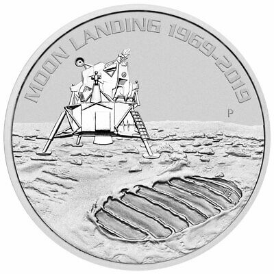 2019 P Australia 1 oz Silver Apollo 11 Moon Landing $1 GEM BU Coin SKU57687