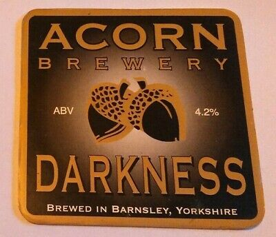 ACORN brewery DARKNESS cask ale beer badge front pump clip yorkshire