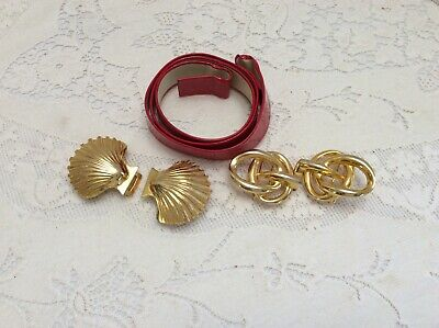 Vintage Red Belt with 2 Interchangable Buckles Acessocraft Shells Unmarked Knot