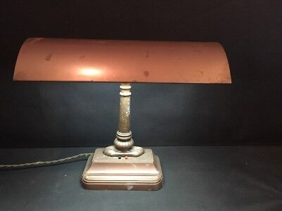 Antique Art Deco Steampunk Machine Age Metal Banker's Piano Desk Lamp