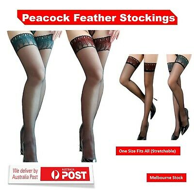 Women Over Knee Peacock Feather Pattern Sexy Thigh Highs Lace Stocking Leggings