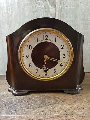 OLD SMITHS ENFIELD BAKELITE MANTEL CLOCK  missing key &  front glass. good case
