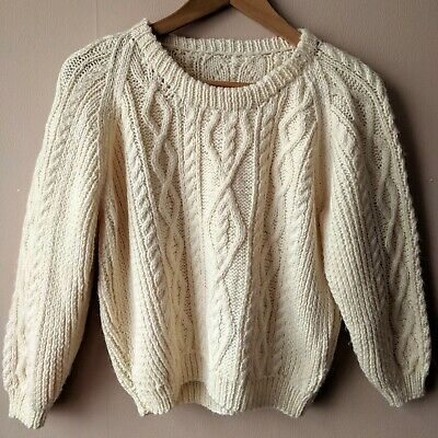 90s Vintage Cream Jumper Soft Acrylic Cable Knit Aran 14 16 Hand Knitted Hipster