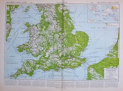 1913 Map England Wales Londonlincoln Hereford Denbigh Pembroke Norfolk