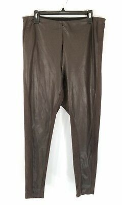 fa3a0b375a7541 Lysse Leggings 1X Brown Distressed Faux Leather Suede Stretch Pants Plus  Size