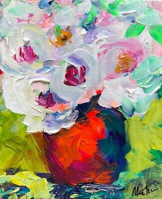 "Claire McElveen Painting Original Floral Colorful Modern Signed Art ""Profusion"""