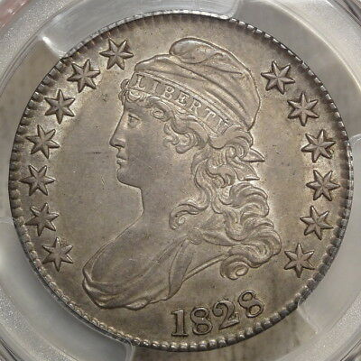 1828 Capped Bust Half Dollar, Square 2, Almost Uncirculated PCGS AU-50, Nice