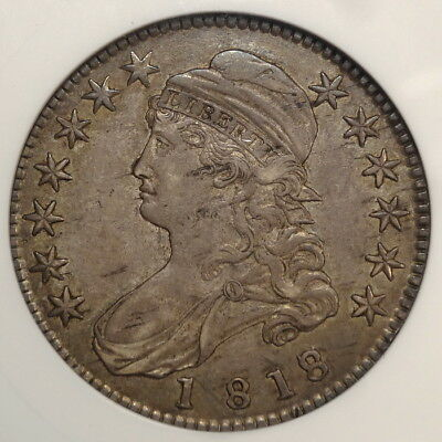 1818/7 Capped Bust Half Dollar, Overton-102, Extremely Fine ANACS EF-45, Nice