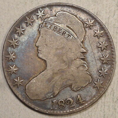 1824 Capped Bust Half Dollar, Solid Good+, Early U. S. Type Coin  0809-09