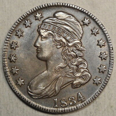 1834 Capped Bust Half Dollar, Large Date/Small Letters, O-106, Sharp Circ Coin