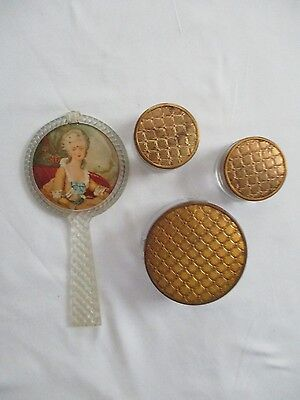 Vintage/Antique Deco  Vanity Dresser Jars & Mirror - Set Of Four