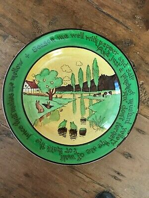 Antique St. Augustine Ware Pottery Rabbit Plate Ye Olde English Early 1900s