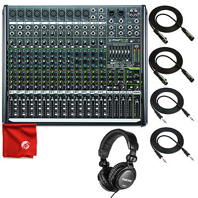 Mackie PROFX16V2 16-Channel Mixer with USB and Effects Headphone 4 Cable Bundle