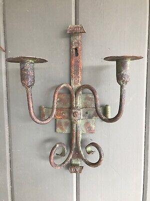 Pair Early Wrought Iron Metal Wall Candle Holders Sconces Antique Great Patina