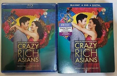 Crazy Rich Asians (Blu-ray + DVD + Digital) w/Slipcover