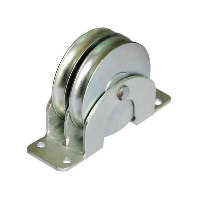 """Double Pulley Block,Flat Mount,660 lb. Capacity,1/4"""" Wire Rope Max"""