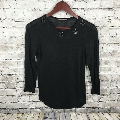 Zara Small WB Collection Top Womens Black Jeweled 3/4 Sleeve