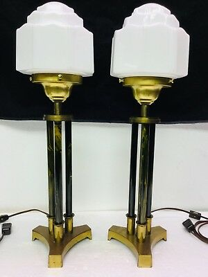 Pair Vintage Art Deco Table Lamps Column Style W/ Wedding Cake Skyscraper Shades