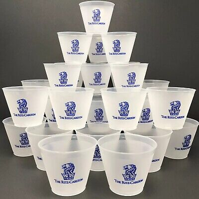 Ritz Carlton Frosted Plastic Tumblers Set of 25 Reusable 9 oz Stackable Cups New