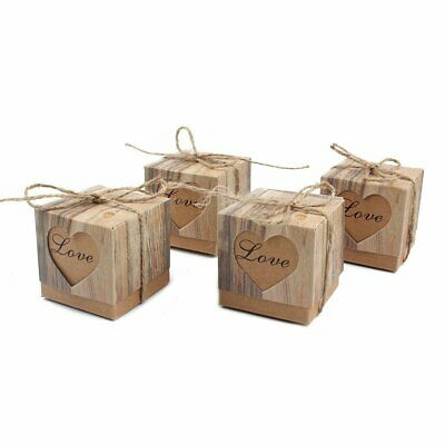 50pcs Candy Favor Boxes Vintage Kraft Bonbonniere + Burlap Twine Love Heart Bag