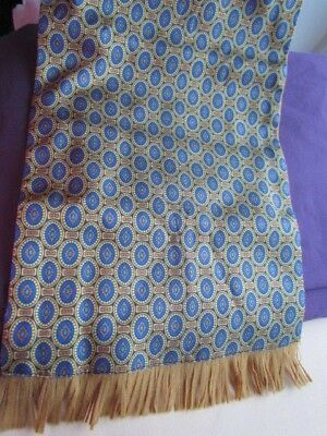 New Radley Tootal Double Layer Men  Wool Vintage Scarf Ascot Opera Blue Mustard