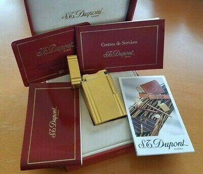 Vintage S.T. Dupont Paris Line 1 Large Gold Lighter with Box and All Paperwork