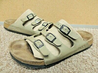 7eddd5f5c5db Birkenstock Birkis Florida 3-Strap Leather Slide Sandals EU 40 US W9   M7