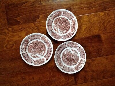 "Alfred Meakin Fair Winds  Staffordshire England 7"" Brown Salad Plates Set of 3"