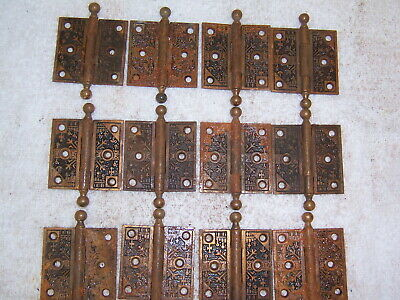 6 pair sets antique eastlake 2.5 x 2.5 door hinges brass vintage ornate 12 hinge