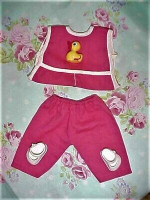 "Vintage 8"" Baby Ginnette ,Ginny  Pink  Play Apron Outfit with Shoes & Ducky"