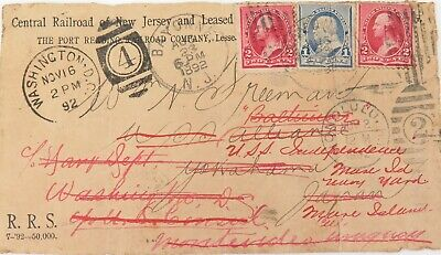 1892 Central Railroad Of New Jersey Cover, 8 Cancels / Date Stamps - Readdressed