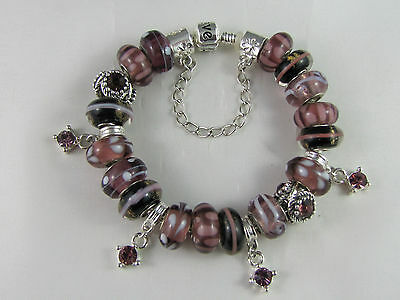 "925 SILVER STAMPED 20cm EURO STYLE CHARM BRACELET BEAUTIFUL ""BURGUNDY BEAUTY"""